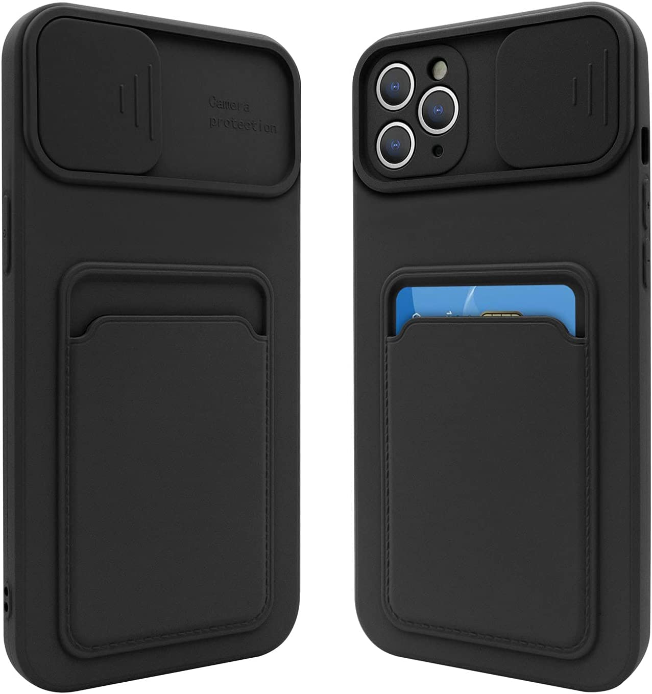 Fsoole iPhone 12 Pro Max Silicone Card Case with Camera Lens Protector, Credit Card Holder Sleeve Shockproof Cover for 6.7 Inch iPhone 12 Pro Max (Black)