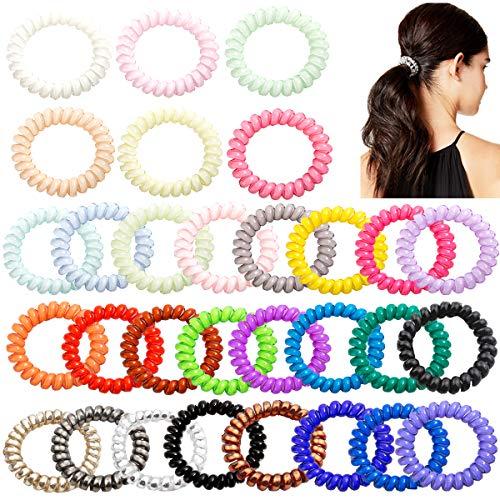 30PCS Spiral Hair Ties No Crease,Traceless Coil Hair Ties,Elastic Phone Cord Hair Ties,Spiral Telephone Hair Ties,Spiral Coil Ponytail Holder for Girls Women Teens
