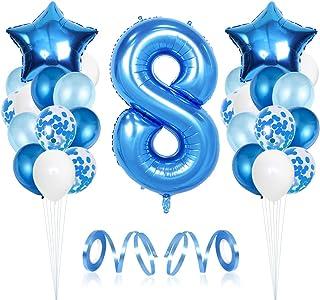 Geburtstag Deko f/ür Junge,Party Dekoration Papier,Kindergeburtstag Deko,27pc Blau Luftballon Set Geburtstagsdeko Happy Birthday Girlande,Konfetti Luftballons,Papier F/ächer Set,Tissue H/ängedekoration