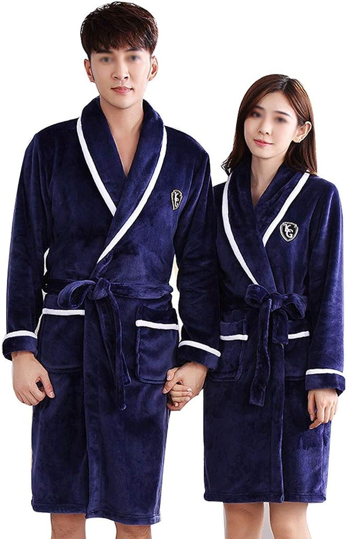 HONGLIAN Couple Pajamas Winter Thick Flannel Robe Medium Long Bathrobe bluee Pajamas Bedroom Pajamas HONGLIAN (color   bluee Female A, Size   L)