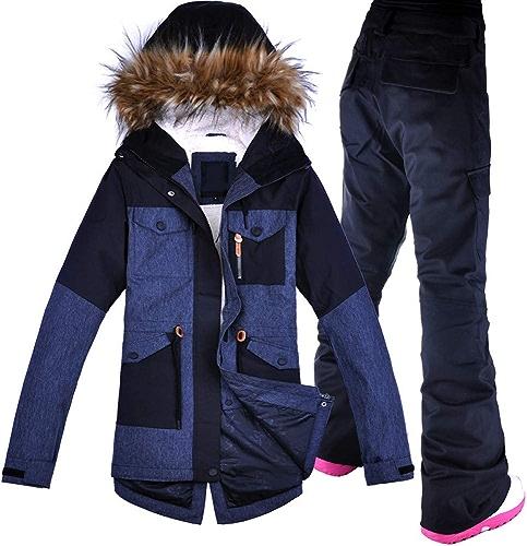 ZXGJHXF Femmes Ski Suit Coupe-Vent Imperméable Sport en Plein Air Porter épaissir Thermique Snowboard Ski Veste + Pantalon Nouveau