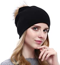 VEMOLLA Ladies Knitted Crystal Winter Bobble Wool Beanie Hat Cap with Detachable Fur Pompom for Women Black