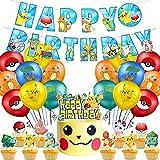 Set de Fiesta de Cumpleaños, NALCY 27 Pcs Suministros de globos de fiesta de Pokemon, Decoración para tartas con diseño de Pikachu, para Favores Regalo Carnaval Boda