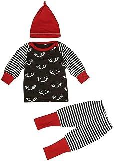 Doinshop Baby Clothes, Infant Girl Boy Winter Warm Top Pants Hat 3pcs Outfits Set
