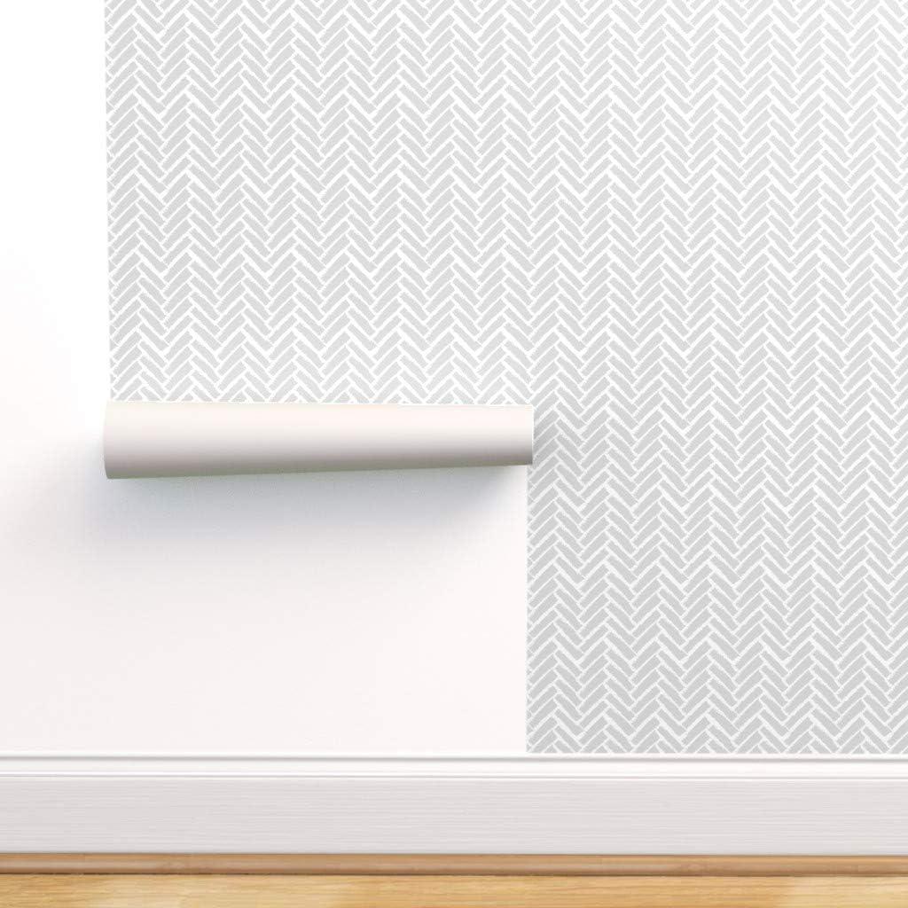 Spoonflower Peel and Stick Herringbone Removable 新色追加 Wallpaper Moro [並行輸入品]