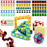14 Pack Speed Snake Cube Puzzle Toys Set(24 Blocks), Twist Fidget Gift for Kids Child Boy Girl Brain Teaser Game, Mini Magic Cubes for Goody Bag Filler, Party Favors School Supplies Birthday Giveaway