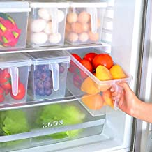 Kitchen Storage Containers with Handle, Strong Plastic Food Storage Organizer Boxes with Lids for Refrigerator, Fridge, Fr...