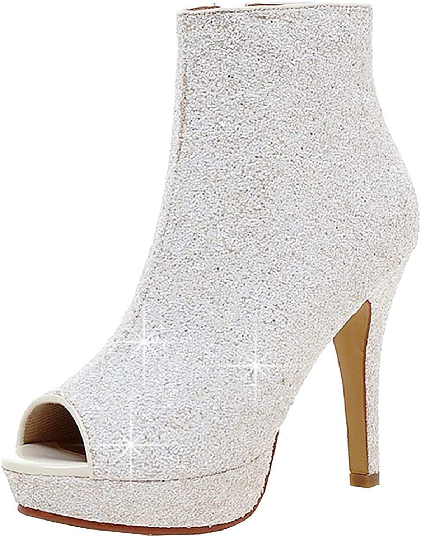 Kikiva Womens Glitter High Heel Stiletto Peep Toe Ankle Boots Side Zip Wedding Booties