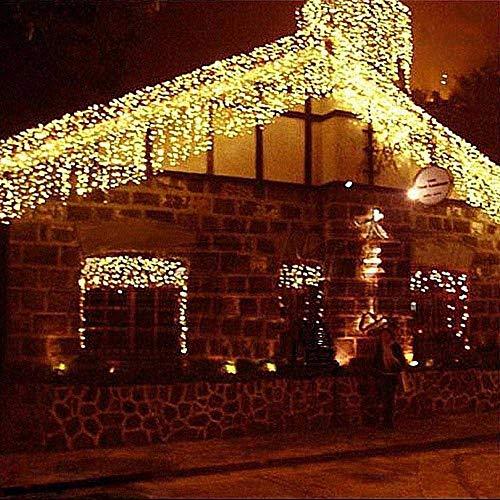 Bakaji Lighting Tenda Cascata Luminosa Bianco Caldo 250 x 75 cm Prolungabile Fino a 50MT 126 Maxi LED con FLASH, Luci per Esterno Natalizie (Luce Bianco Caldo)