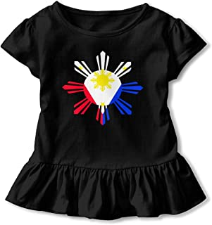 Girls Short Sleeve Philippine Sun Flag Shirts, Fashion Blouse Clothes with Flounces, 2-6T