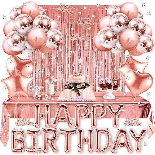 Amteker Geburtstagsdeko, Geburtstag Party Dekorationen, Happy Birthday Folienballon, Glitzer Vorhang, Konfetti, Herz Stern Folienballon, Konfetti Ballons, Rosegolde Ballons, Party Deko für Mädchen