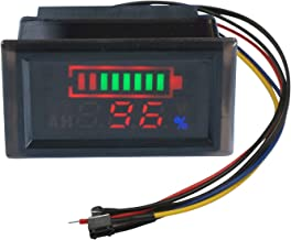 Battery Energy Meter, DROK 36V Battery Tester Power Level Voltage Temperature Monitor, DC 6-120V Electric Quantity Percent Indicator Voltmeter Thermometer LED Display Capacity Volt Temp Multimeter