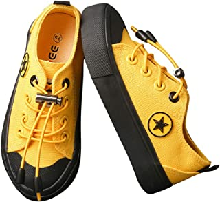 Hopscotch Boys Canvas Star Applique Lace Up Sneaker in Yellow Color