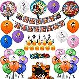 50Pcs Dragon Ball GT Party Decorations,Dragon Ball Party Banner,Super Saiyan Foil Balloon,Dragon Ball Latex Balloon,Dragon Ball Cupcake Topper and Dragon Cake Topper,Goku Party Supplies for kid's