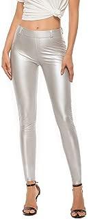 RIOJOY Womens Sexy Faux Leather Leggings Skinny PU Butt Lift Bodycon Pants High Waist Trousers