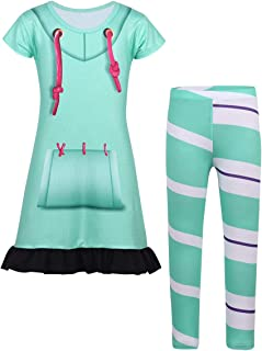 ACSUSS Kids Girls Children Halloween Cartoon Cosplay Costume Short Sleeve Tunic Dress with Leggings Set Outfits