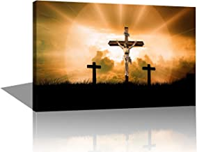 Christ on The Cross Paintings Living Room Religious Wall Pictures Religion Canvas Wall Art Jesus Crucifixion Christianity Home Decor Modern Artwork Giclee Framed Stretched Ready to Hang(16''X24'')