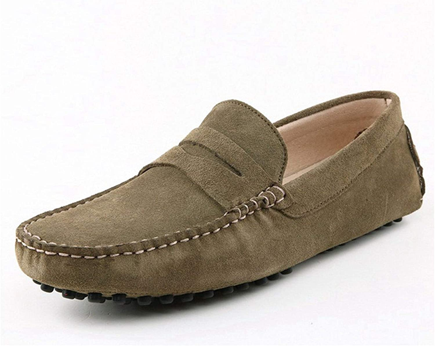 ZHRUI Men's Stripe Casual Comfortable Hot Khaki Suede Moccasin Loafers Boat shoes UK 7.5 (color   -, Size   -)