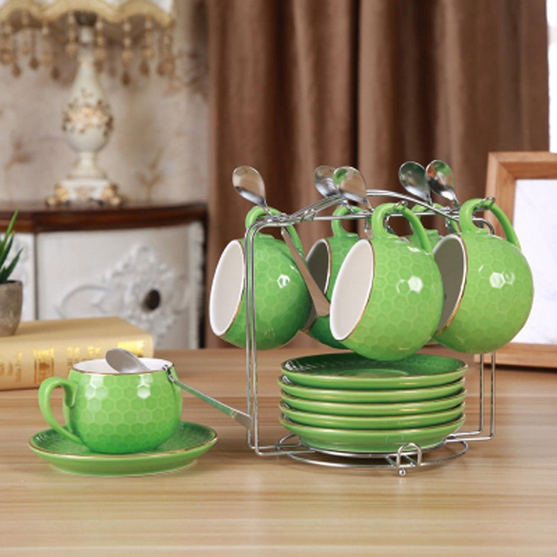 AJUNR Cadeaux Uniques Thé Tasses Café Tasses Bref Les Secours glacé café café Creative Or personnalité ma Tasse de 6 pièces vert