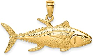 14ct YellowSolid Textured Polished Open back Goldfin Tuna Animal Sealife Fish Pendant Necklace Jewelry Gifts for Women