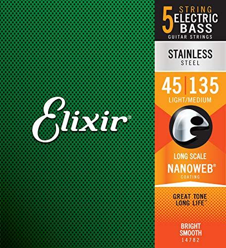Elixir® Saiten Stainless-Steel 5-str. E-Basssaiten mit NANOWEB® Beschichtung, Long Scale, Light/Medium (.045-.135)