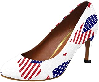 Womens High Heels Comfort Pumps American Flag with Heart