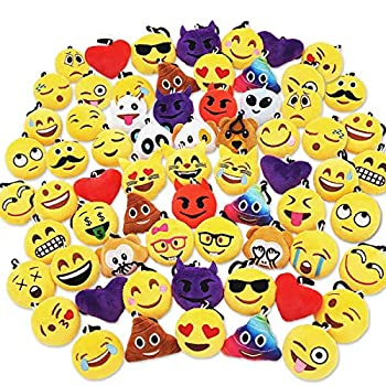 Ivenf Pack of 50 5cm/2  Emoji Poop Plush Keychain Birthday Party Favors Supplies Mini Pillows Set Emoticon Backpack Clips Goodie Bag Stuffers Pinata Fillers Novelty Gifts Toys Prizes