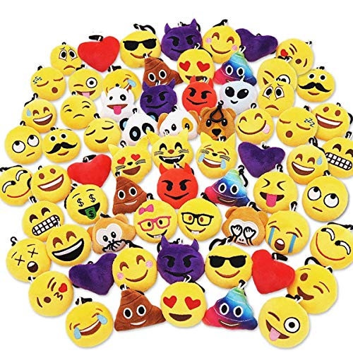"""Ivenf Pack of 50 5cm/2"""" Emoji Poop Plush Keychain Birthday Party Favors Supplies Mini Pillows Set, Emoticon Backpack Clips, Goodie Bag Stuffers Pinata Fillers Novelty Gifts Toys Prizes"""
