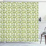 ABAKUHAUS Apfel Duschvorhang, Zier Frisches Food Design, Leicht zu pflegener Stoff mit 12 Haken Wasserdicht Farbfest Bakterie Resistent, 175x220 cm, Pale Green White