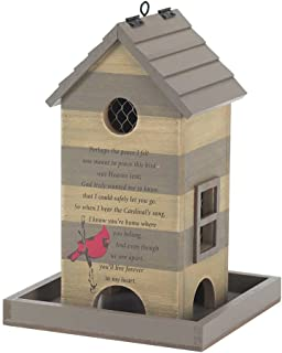 Dicksons Shake Roof in Heart Forever Cardinal Beige Stripe 7.5 x 11 Wood Outdoor Remembrance Bird Feeder