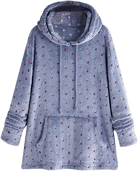 PerfectCOCO Fashion Coat Tops Womens Dot Printed Hooded Pullover Loose Sweater Warm Jacket Outwear Outercoat