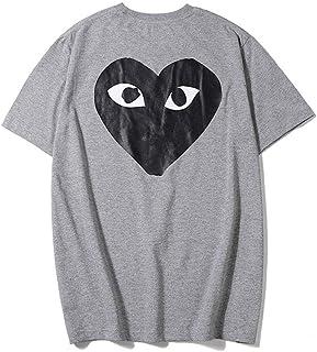 Kawahisa Play Grey Big Black Heart Male and Female Couple Short Sleeves T-Shirt