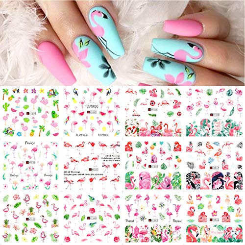 Flamingo Nail Art Stickers Decals Nail Art Supplies Kits Nail Polish Strips Nail Decorations Accessions for Women Girls Water Transfer Decal Slider Tropical Palm Flamingo Cactus Pine Apple 12 Sheets