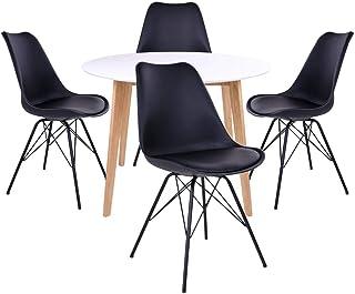 AltoBuy Gram - Ensemble Table Ronde Naturelle et Blanche + 4 Chaises Noires