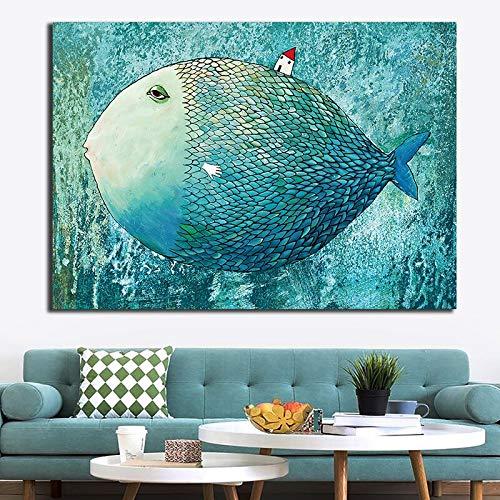 ganlanshu Ozeanfisch auf Leinwandkunst Seestück und Plakatwandbild Wohnzimmerhauptdekoration rahmenloses Gemälde 30cmX45cm