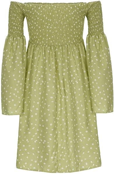 Lomsarsh Women S Dress Ladies Loose Off Shoulder Print Long Sleeve Mini Dress Summer Dress Beach Dress