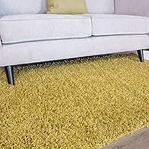 Ontario Yellow Ochre Soft Touch Easy Clean Living Room Shag Shaggy Area Rug 2' x 3'7