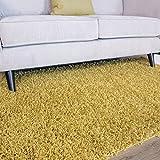The Rug House Ontario Alfombras de Pelo Largo Shaggy para Sala de Estar de Tacto Suave Fácil de Limpiar Color Amarillo Ocre 110cm x 160cm