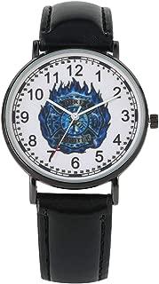 Elegant Quartz Analog Watch Unique Blue Fire Brigade Mark Dial Quartz Watches Premium Black Leather Band Wristwatch