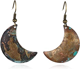 Resto ancient ways to do old verdium-green curved moon naturally oxidized earrings