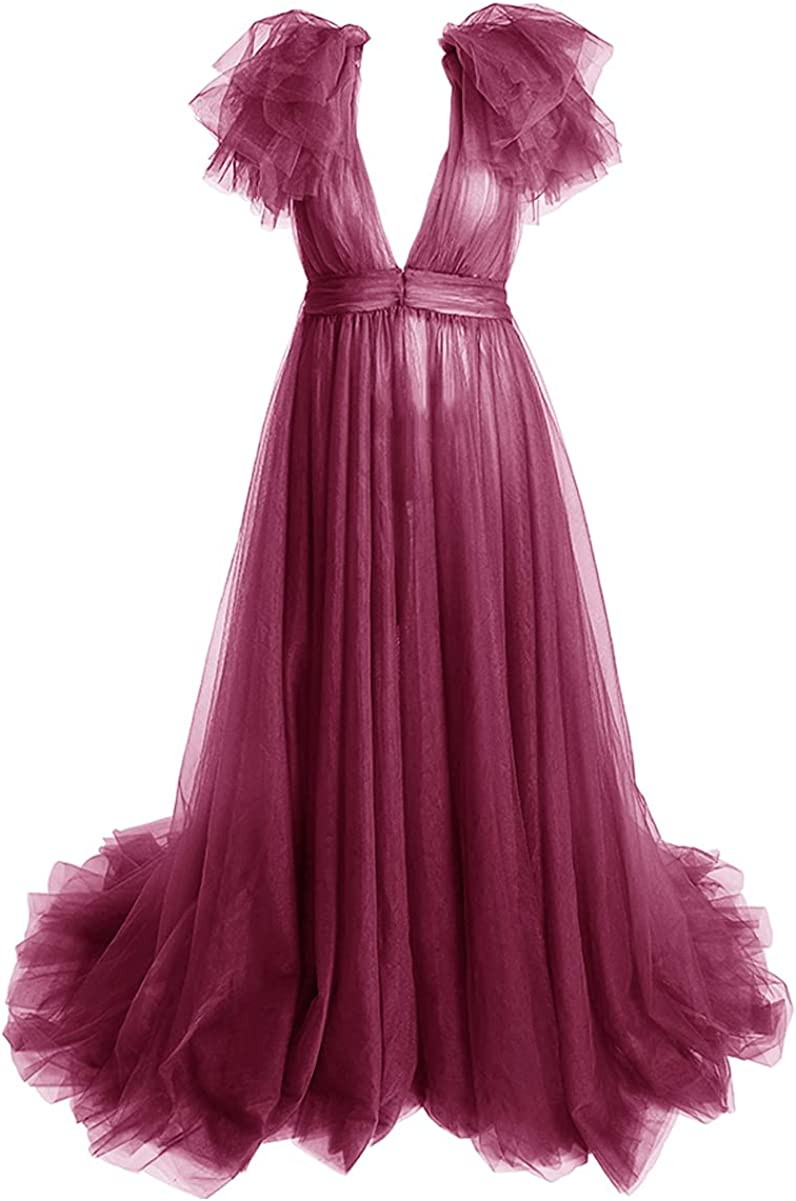 Tianzhihe Illusion Tulle Robe Long Maternity Gown for Photoshoot Lingerie Bathrobe Beach Coverup Sleepwear