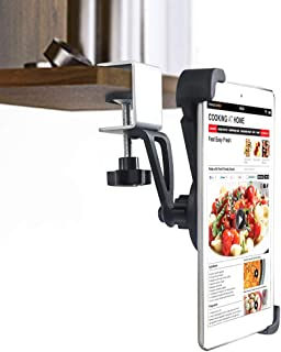 EXSHOW Tablet Mount,Universal Desk Kitchen Metal Clamp with Full Rotation for 7-10.5 inches Tablets