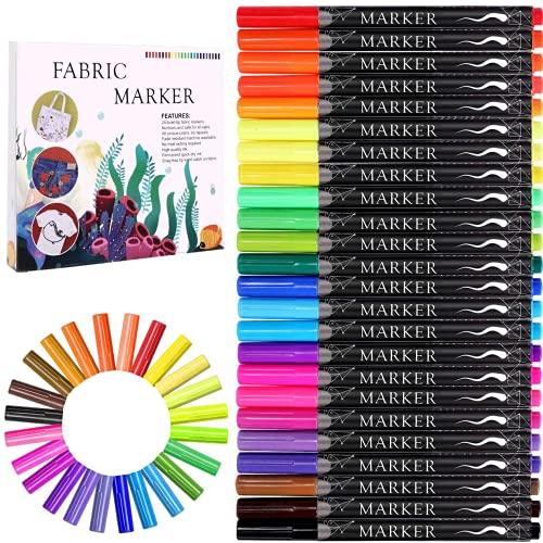Fabric Marker, Emooqi 24 Colors Textile Marker , No Bleed Fabric Pen Permanent and Washable T-Shirt Marker,Ideal for Decorate T-shirts, Bibs, Textiles, Shoes, Handbags, Graduation Signatures