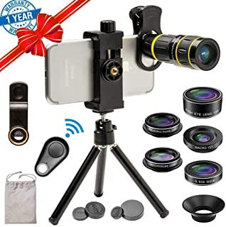Cell Phone Camera Lens Kit, SEVENKA 18X Zoom Telephoto Lens with Remote Shutter, Tripod, Fisheye, Macro and Wide Angle Len...