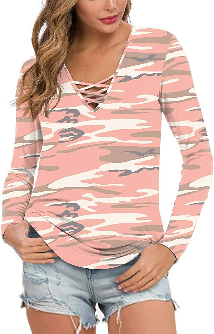 Feiersi Women's Fall Long Sleeve Tops T-Shirt Criss Max Large special price !! 84% OFF Tunic V-Neck