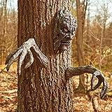 XRTJ Gartendeko Figuren Baumdeko baumgeister Elfen Gesicht Witzige baumgesichter Polyresin Wetterfest Perfekt Für Halloween Dekoration