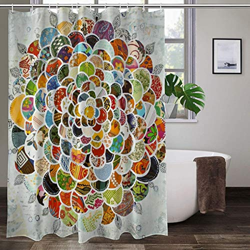 XCBN Duschvorhang Set Mandala Flower Geometrisch Bedruckte Badvorhänge Wasserdichter Stoff Wandbildschirm Badezimmer Dekor A2 180x180cm