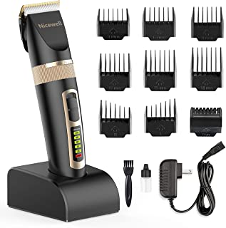 Nicewell Hair Clippers for Men Kids, 2-Speed Cordless Hair Trimmer Grooming Haircut Kit with Charge Station and 9 Attachment Guide Combs