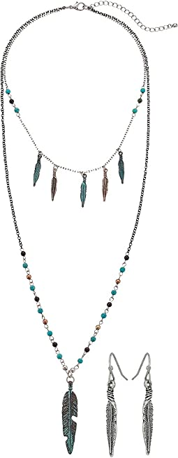 Mixed Metal Feather Long Necklace/Earrings Set