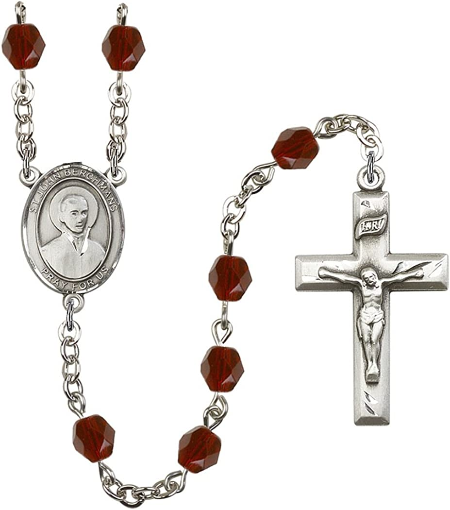 19 Inch January Birth Month Prayer Bead Rosary with Patron Saint Centerpiece
